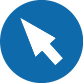 blue and white icon showing a cursor for engagement