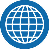 blue and white icon showing a globe