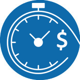 blue and white icon showing time and money as a clock with a dollar symbol
